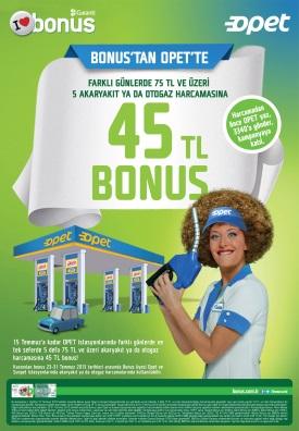 Bonus'tan Opet'te 45 TL Bonus