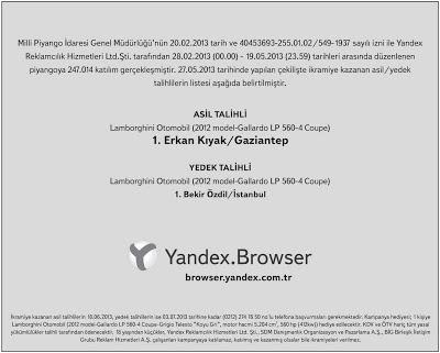 Yandex Lamborghini Kampanyası Sonucu