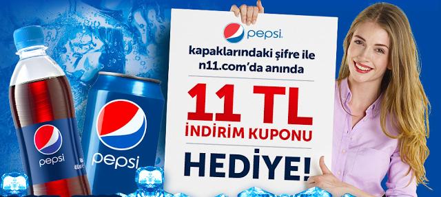 Pepsi Kapaklarına N11.com'dan 11TL İndirim