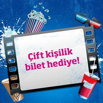 Çift kişilik sinema bileti hediyeli kampanya görseli