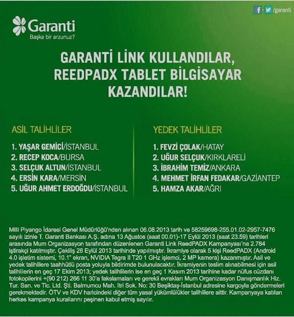 Garanti'den Tablet Kazanan Şanslı İsimler