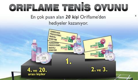Oriflame'den Hediyeli Tenis Oyunu
