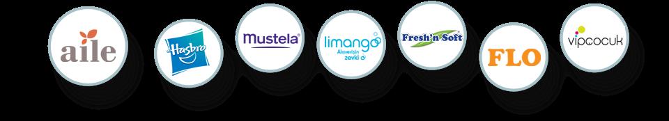 Logolar; Aile - Hasbro, Mustela, Limango, Flo, Fresh'in Soft, Flo ve Vipcocuk