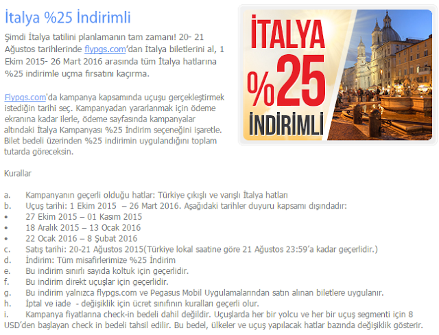 Pegasus'la İtalya'ya %25 İndirimli Kampanya Detayı.