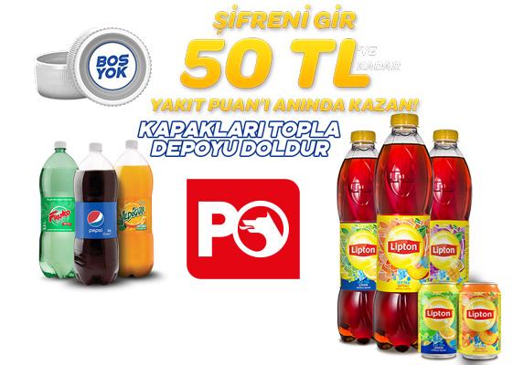 Pepsi, Fruko, Yedigün ve Lipton kapaklarıyla depoyu doldur