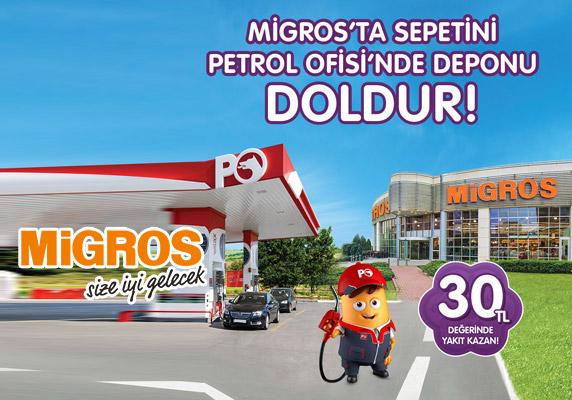 Migros Sanal Marketten 30 TL Petrol Ofisi hediye akaryakıtı kazanın