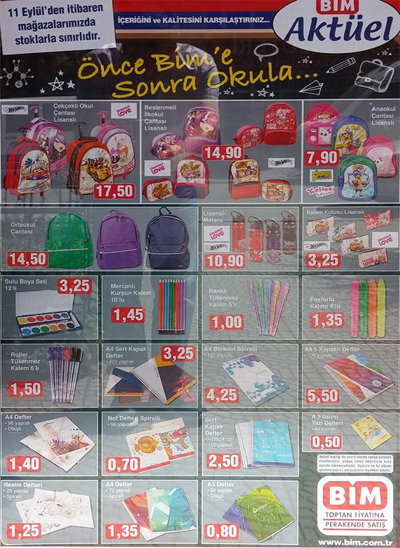 Önce Bime Sonra Okula,11 Eylül indirimli ürünler kataloğu, indirimli okul ürünleri,Bim okula dönüş,