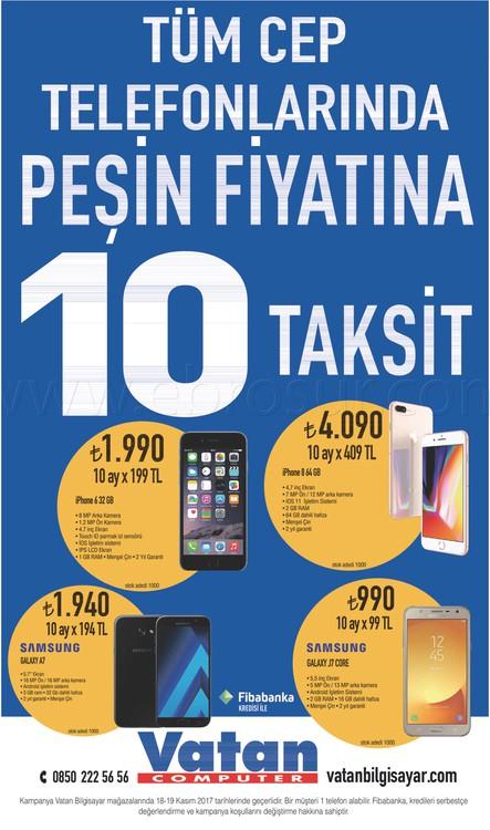 Vatan Bilgisayar akıllı telefon taksit kampanyası