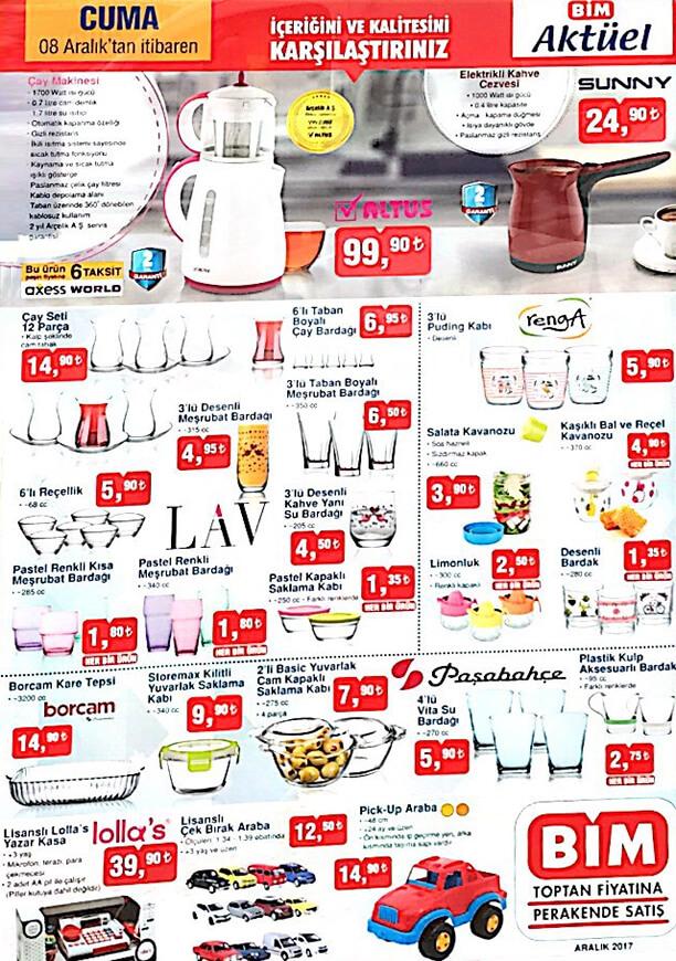 Bim 8 Aralık 2017 aktüel ürünleri