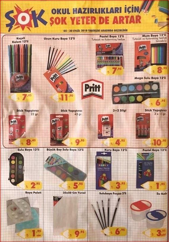 5 Eylül 2018 ŞOK aktüel ürünler okul kampanyası