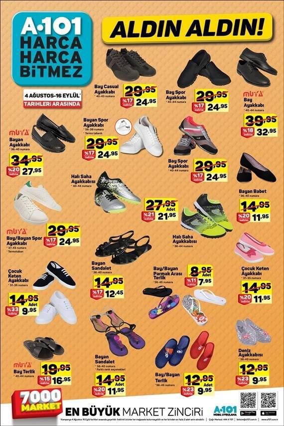 A101 16 Eylül 2018 indirimli ürünler ayakkabılar