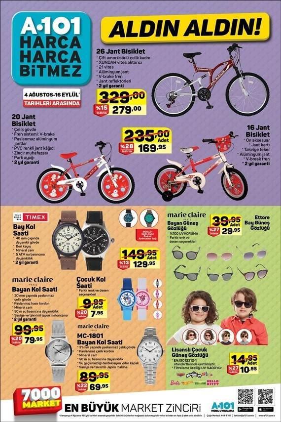 A101 16 Eylül 2018 indirimli ürünler kataloğu bisikletler