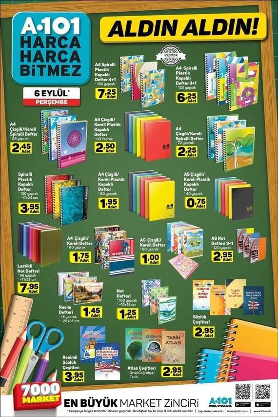 A101 6 Eylül 2018 aktüel okul ürünleri