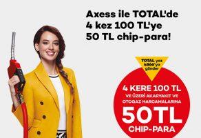 Axess Kredi Kartınızla TOTAL'de 4 kez 100 TL'ye 50 TL chip-para