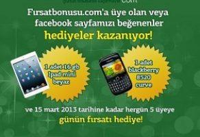 04 Ocak 2013  Her gün 5 kişiye günün fırsatı + iPad + Blackberry hediye
