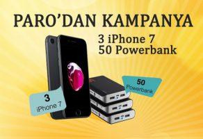 Paro'dan 3 iPhone 7 ve 50 Powerbank çekilişi devam ediyor