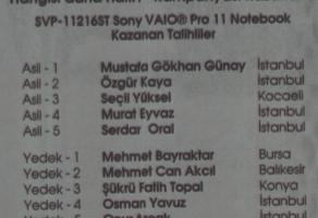 Sony'den Vaio Pro 11 Kazananlar